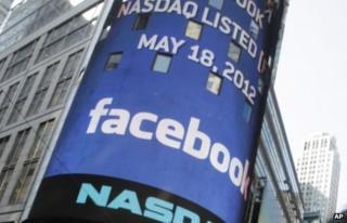 Facebook logo at Nasdaq, New York