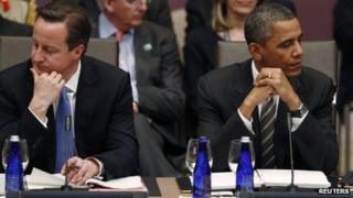 British Prime Minister David Cameron (left) and US President Barack Obama (right) at the Nato summit Chicago, Illinois, 21 May 2012