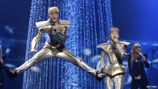 Jedward performing at Eurovision semi-final