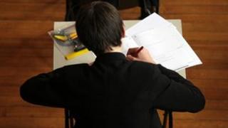 School pupil sitting exam