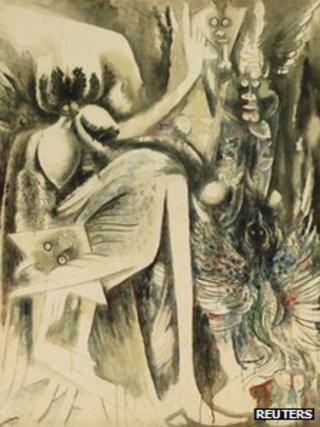 """An undated handout photo shows Cuban Wifredo Lam's """"Idolo (Oya/Divinite de l'Air et de la mort)"""""""