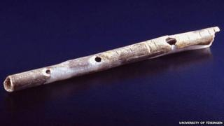 Bird bone flute from the Geißenklösterle Cave in Germany