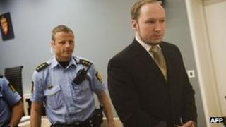 Anders Behring Breivik in court. Photo: 25 May 2012