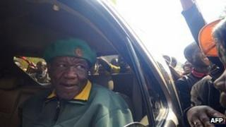 Thomas Thabane, leader of All Basotho Convention greets supporters in Maseru