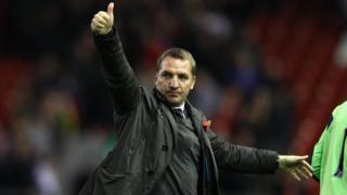 Brendan Rodgers doing thumbs up sign