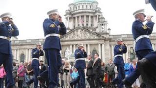 Parade passing city hall