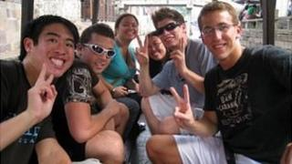 Andrew Tichenor (second from left in sunglasses) with fellow interns