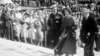 Queen Elizabeth during her Coronation visit to NI in 1953