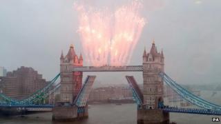 Fireworks over Tower Bridge