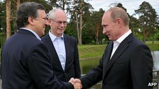 Russian President Vladimir Putin (right) with EU leaders in St Petersburg, 4 Jun 12