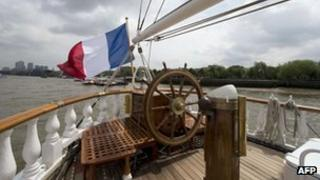 A 19th-Century French ship called The Belem is pictured on the River Thames in London, on 31 May, 2012