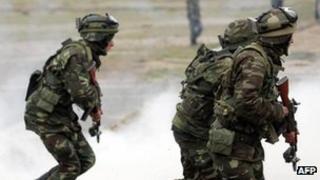 Azerbaijani soldiers on an exercise near Baku, April 2009