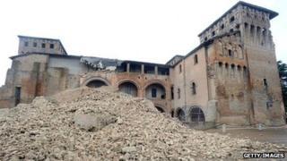 Rubble outside the Castello delle Rocche, Finale Emilia
