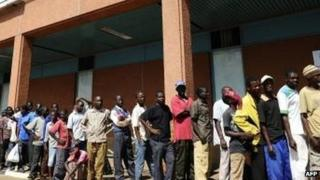 People queuing for sugar in Lilongwe, Malawi, April 2012
