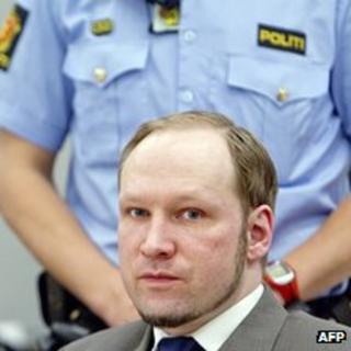Anders Behring Breivik in court in Oslo, 6 June 12
