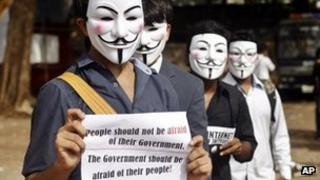 Members of a hacking group, Anonymous India, wear Guy Fawkes masks as they protest against Indian government enacted laws that gives it power to censor different aspects of Internet usage, in Mumbai