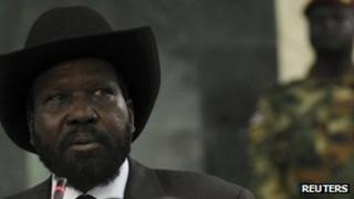 South Sudan's President Salva Kiir attends the opening of the second session of the National Legislative Assembly of South Sudan in Juba, 11 June 2012