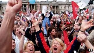 Crowds celebrating in Trafalgar Square