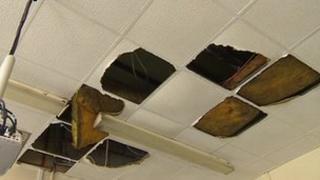 Collapsed ceiling at Priestsic Primary School