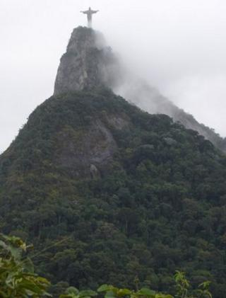 Christ the redeemer statue covered in mist (Image: BBC)