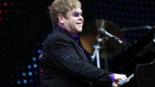 Sir Elton John on stage in Blackpool