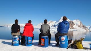 Sgt Will Brant, SAC Alex Thorpe, Capt Ivar Milligan, Maj Phil Carrott in Antarctica