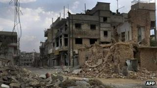 Damage in Qusayr, south-west of Homs. 20 June 2012