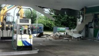 Damage at BP garage