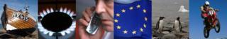 Boat, gas hob, mobile phone, EU flag, penguins, motorbike