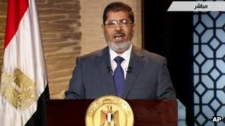 Mohammed Morsi speaking on Egyptian state TV