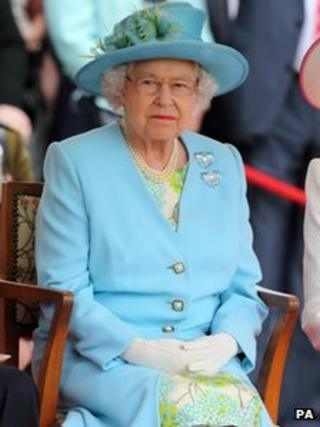 The Queen watching the river pageant
