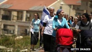 Jewish families at Beit El (file photo)