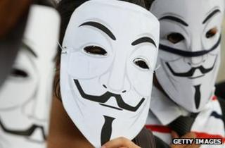 Anonymous supporters at a protest in India