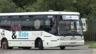 Park and Ride bus turning round a corner
