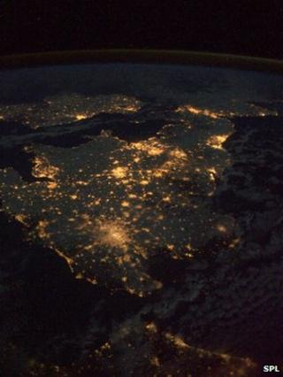 Britain seen from the air, with city lights showing