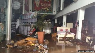 Flooded shopping centre