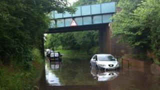 Cars stuck in floods at Albrighton