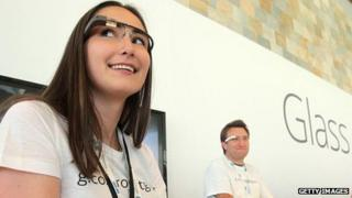 A Google employee wears Glass at the firm's developers conference