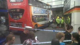 The scene of the accident at Piccadilly Gardens