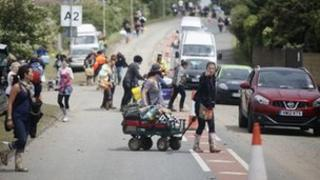 Traffic queuing outside Isle of Wight Festival 2012
