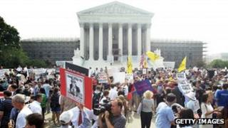Crowds outside the US Supreme Court Washington Dc 28 June 2012