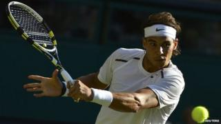 Nadal playing at Wimbledon.