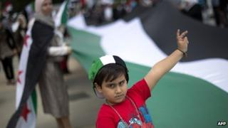 A child at a protest against the Syrian regime in Geneva, Switzerland on 19 May