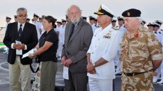 Ceremony on board HMS Diamond (from left: Eduard van Lierde, Kate Saxton, Frans Luidinga, Rear Admiral Konstantinos Mazarakis, Cic Hellenic Navy)
