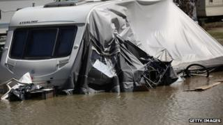 Flooding hit a caravan park near the village of Talybont in Ceredigion in June