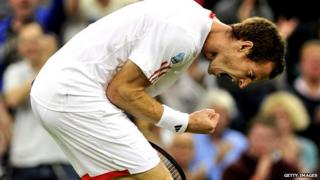 Andy Murray bent forward with clenched fist