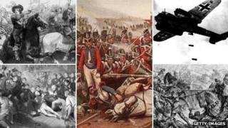 (clockwise) Painting depicting Battle of Edgehill; painting depicting Battle of Waterloo; photograph of German Dornier DO-17 bomber unloading bombs during the Battle of Britain; painting depicting Battle of Towton; painting depicting Battle of Trafalgar