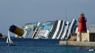 Costa Concordia on its side in the sea
