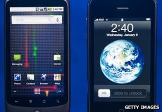 Apple and HTC smartphones