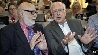 Belgian physicist Francois Englert, left, and British physicist Peter Higgs